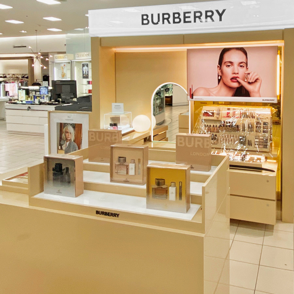 Shop-in-shop designed, manufactured and installed by C-West Custom Fixtures for Burberry in Market Mall, Calgary.