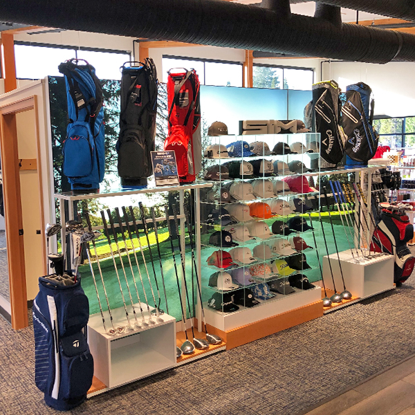 Retail display in the Campbell River Golf and Country Club Pro Shop manufactured by C-West Custom Fixtures